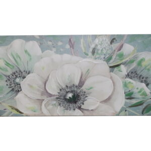 Tela 120*50*3 com Flores verde água